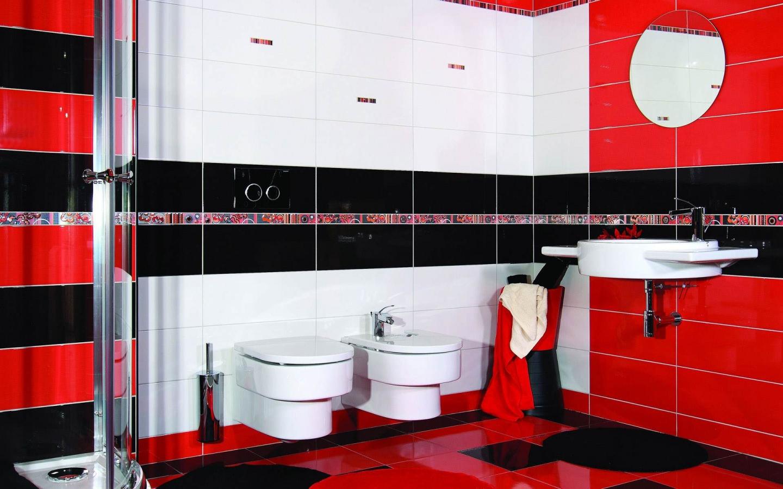 Baie rosu cu negru amenajari interioare poze si idei for Black white red bathroom ideas