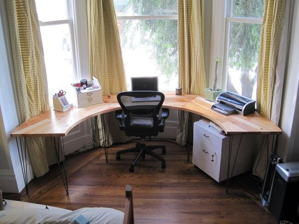 birou rotund din lemn