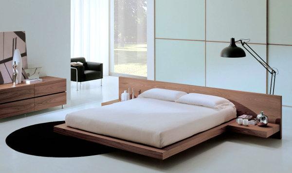 dormitor italienesc cu pat de lemn